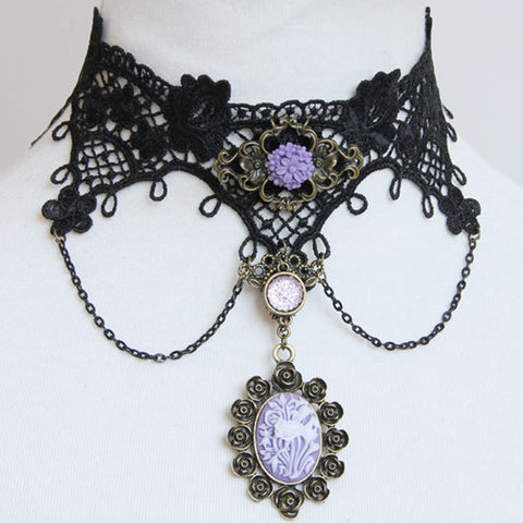 Black Lace And Purple Flower Cameo Choker Necklace