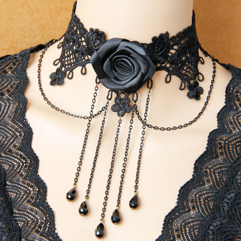 Black Lace And Rose Cameo Choker Necklace