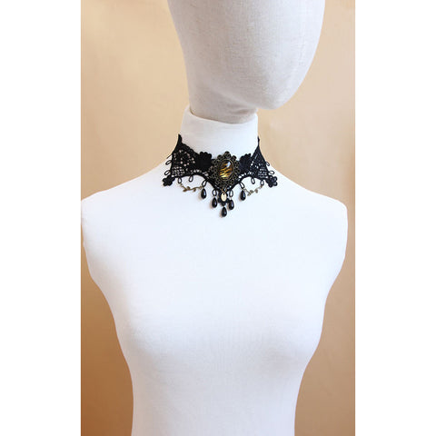 Black Lace And Tiger Gem Choker Necklace