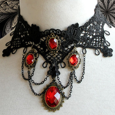 Black Lace And Red Crystal Gems Choker Necklace