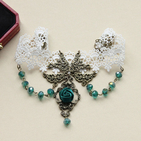 Atomic White Lace And Green Rose Choker Necklace