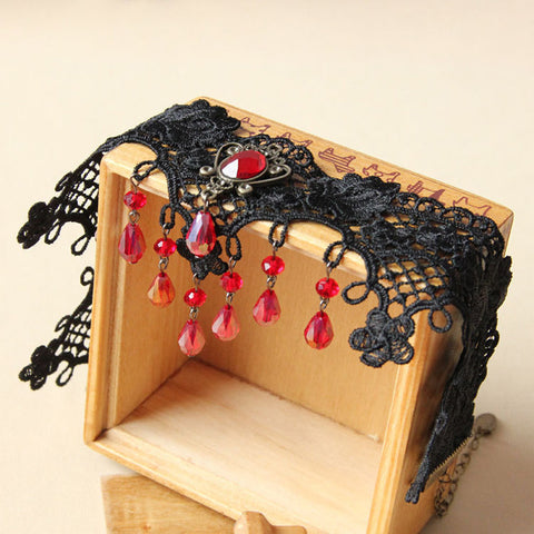 Black Lace And Red Crystal Gem Choker Necklace