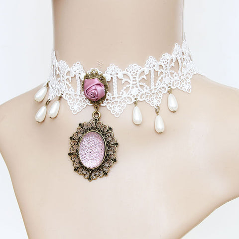 White Lace And Pink Rose Choker Necklace With Pendant
