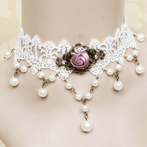 White Lace And Pink Rose Choker Necklace