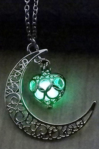 Green Glow In The Dark Moon Heart Necklace