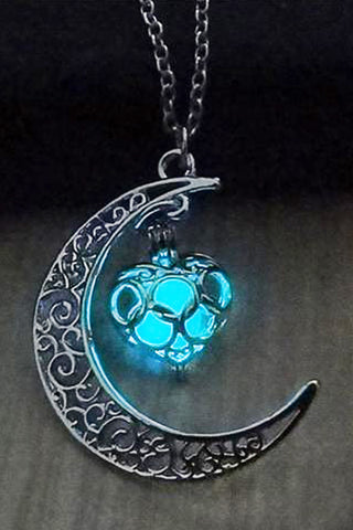 Blue Green Glow In The Dark Moon Heart Necklace