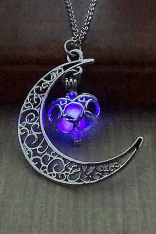 Purple Glow In The Dark Moon Heart Necklace