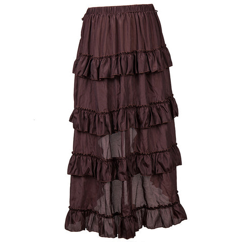 Coffee Adjustable Ruffle Skirt