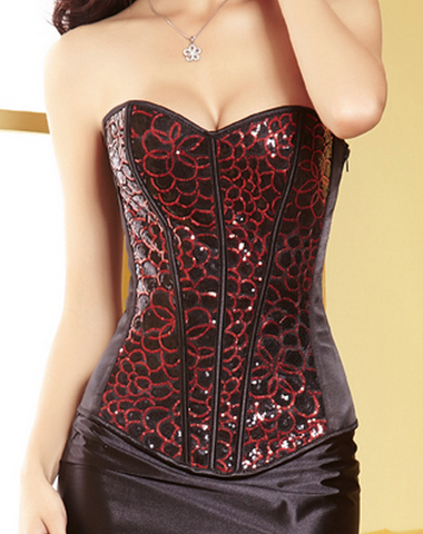 Red and Black Jacquard Overbust Corset