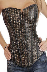 Atomic Gold Skulls Faux Leather Overbust Corset - Size M Only
