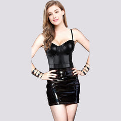 Black Faux Leather Bra Top and PVC Skirt Set