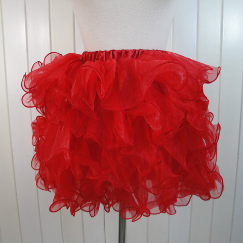 Atomic Red Ruffled Mesh Overlay Mini Skirt