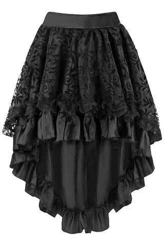 Black Satin Tiered Lace Skirt