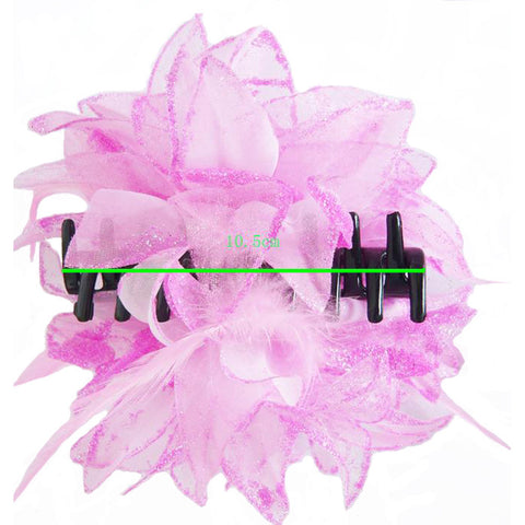 Atomic Pink Floral Hair Clamp