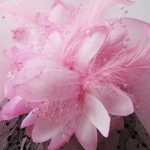 Atomic Pink Flower Topper with Veil
