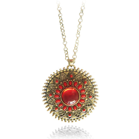 Gold And Red Lotus Necklace