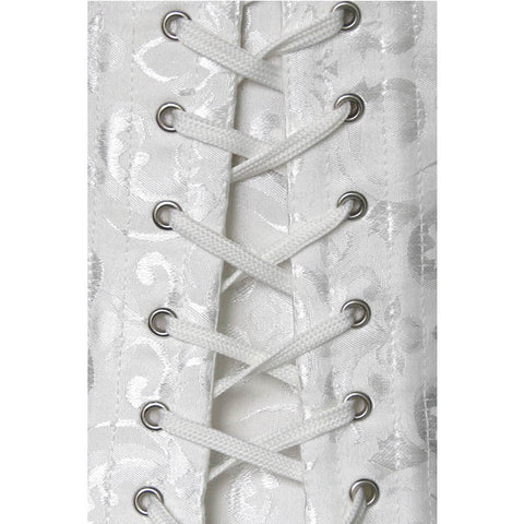 White Jacquard Steel Boned Waist Training Corset