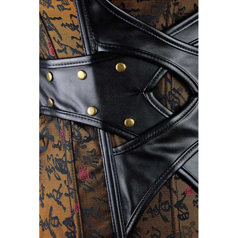 Oriental Inspired Mysterious Faux Leather Corset
