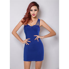 Royal Blue Spaghetti Straps Cocktail Party Mini Dress