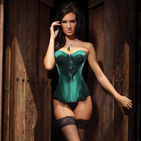 Atomic Classic Emerald Lace Overlay Corset
