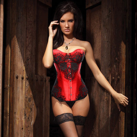 Atomic Black and Red Lace Overlay Corset