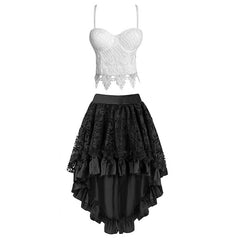 White Lace Floral Crop Top Bustier& Black Skirt Set