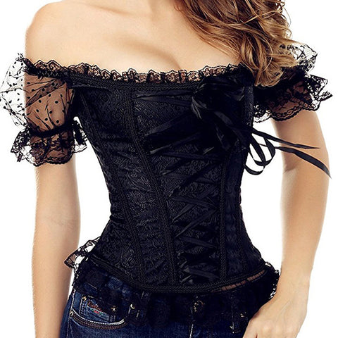 Black Lace Up Sleeved Corset Top and Skirt Set