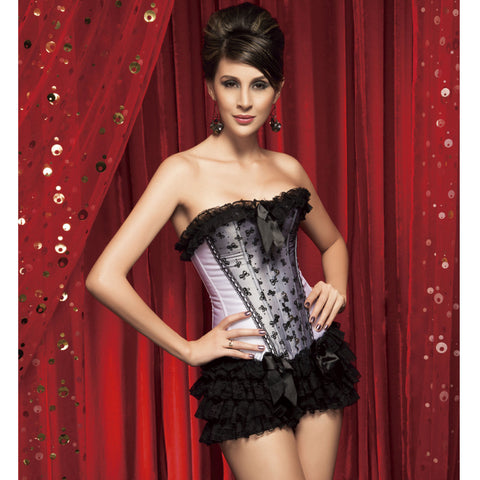 Atomic Overbust Corset and Black Ruffle Panty Set