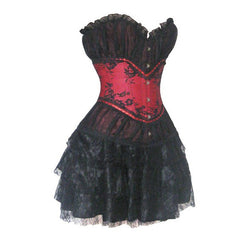 Atomic Red and Black Vintage Style Corset & Pettiskirt Set