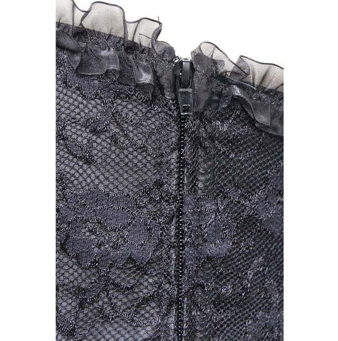 Black Satin and Lace Overlay Overbust Corset