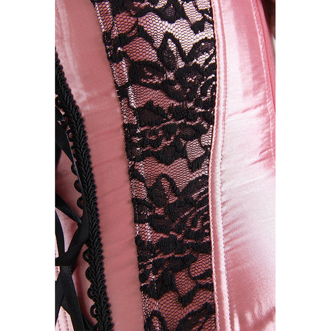 Pink and Black Floral Lace Overbust Corset