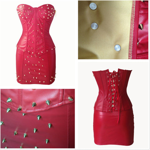Atomic Spiked Red Faux Leather Corset and Skirt