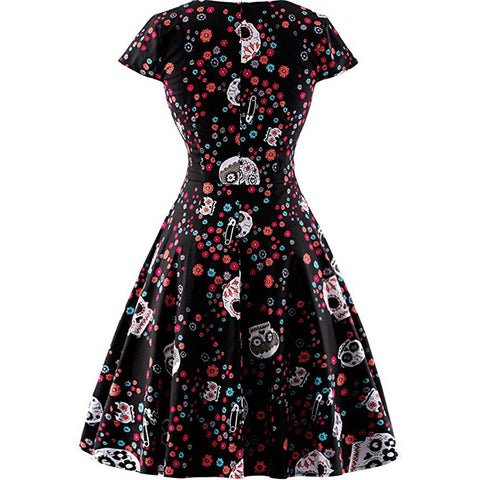 Black Floral Candy Skull Swing Skirt
