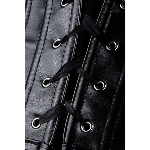 Peek A Boo Black Faux Leather Overbust Corset