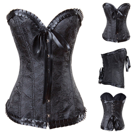 Atomic Black Sweetheart Brocade Corset