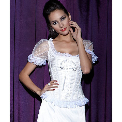 Marry Me White Jacquard Overbust Corset