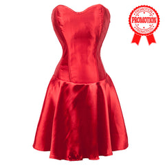 Red Satin Flared Corset Dress