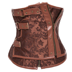 Atomic Brown Brocade Steel Boned Steam Corset
