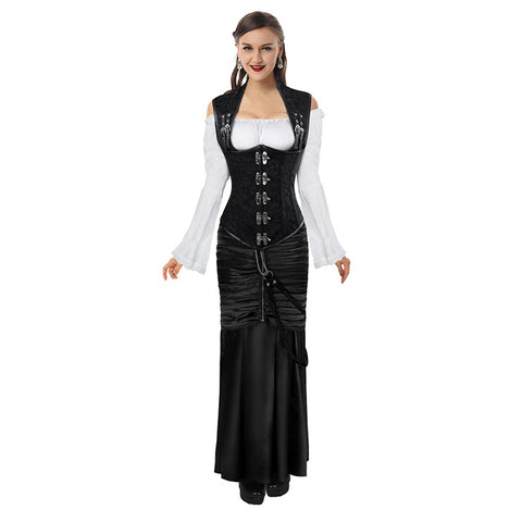 Steampunk steel boned vest underbust corset and skirt