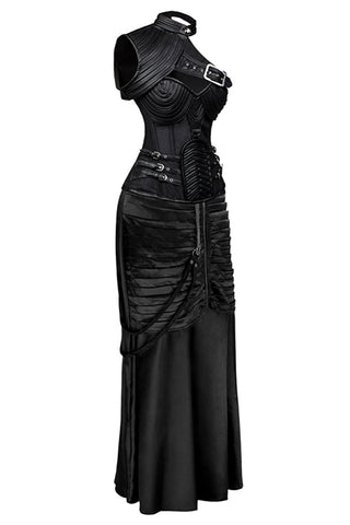 Atomic Black Steampunk Gothic Corset Skirt Set