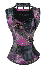 Multi Colored Steel Boned Steampunk Overbust Corset