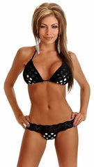 Black Polka Dot Pucker Back Bikini