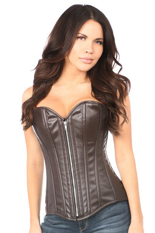 Top Drawer Premium Distressed Dark Brown Faux Leather Steel Boned Corset