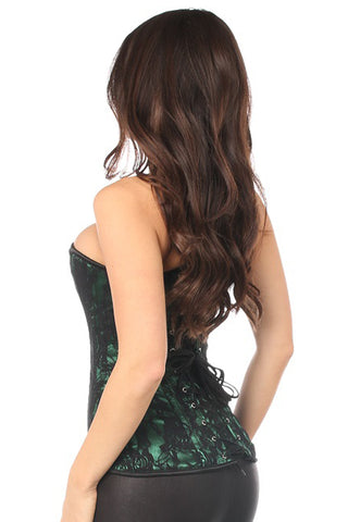 Green Lace Front Zipper Corset