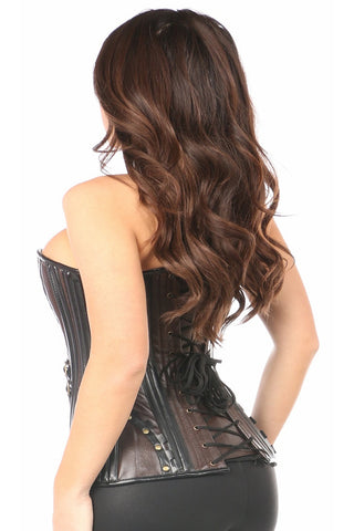 Top Drawer Premium Faux Leather Steel Boned Corset w/ Rivets
