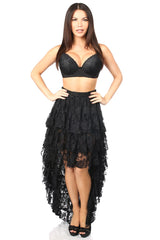 Premium Black Lace Tiered Hi-Low Skirt