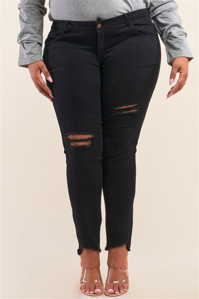 Black Mid Rise Distressed Denim Jeans