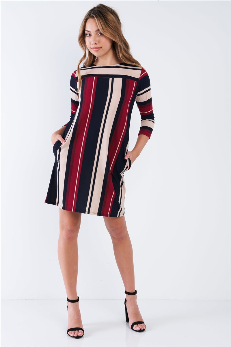 Fall Striped Shift Midi Dress