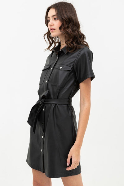 Black Faux Leather Button Down Dress