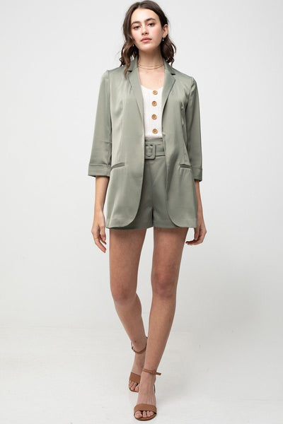 Up to Par Olive Satin Blazer